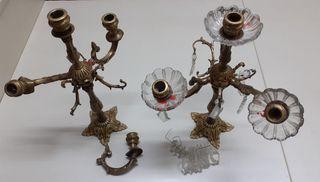 Candelabros de bronce. Antiguos.