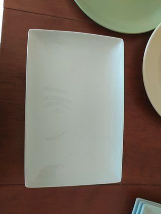 3 platos / bandeja rectangulares anchos y 3 estrec