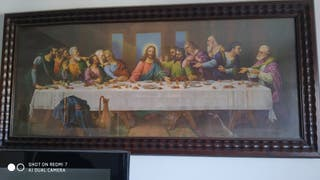 cuadro de la santa cena marco de caoba muy antiguo