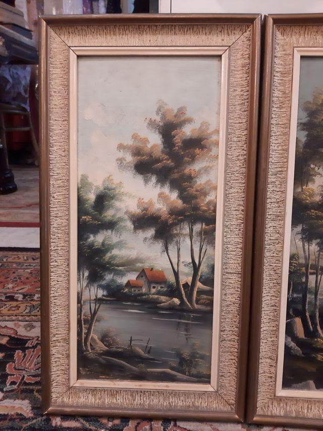 Trio de cuadros Vintage Óleo