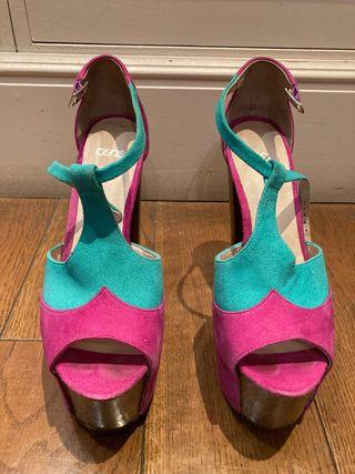 Sandalias tacón rosa y turquesa talla 39
