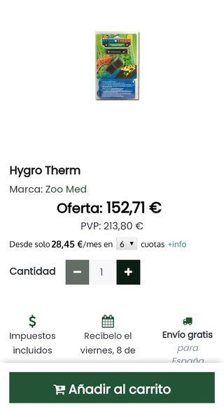 hygrotherm para controlar la humedad y la temp