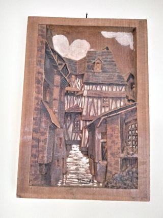cuadro tallado en madera vintage