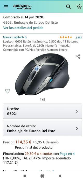 RATON GAMING INALÁMBRICO LOGITECH G602