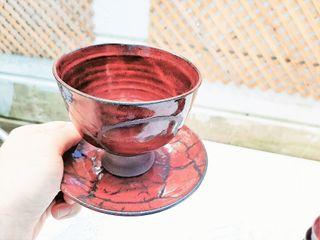 Vaso copita rojo cobre