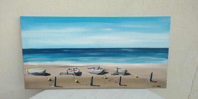 Cuadro playa y barcas en la arena