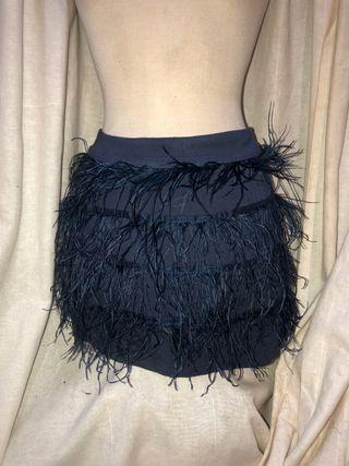 Mini Falda con plumas azul marino