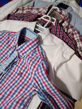 3 camisas niño talla 8 y dos de la 10