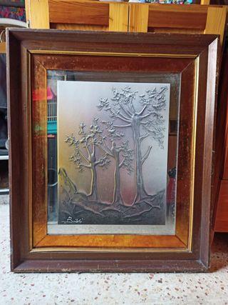 cuadro grande con espejo 70x60