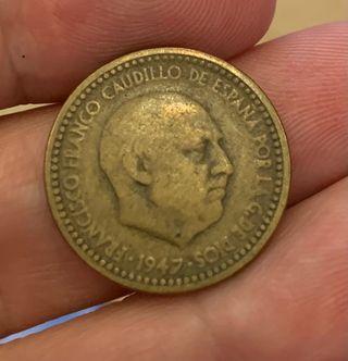 Moneda de 1 peseta del año 47