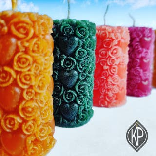 Fancy Flower pillar Candle Pack of 2 By CandleKP