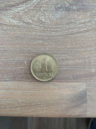 Moneda de 1 peseta del año 1980.