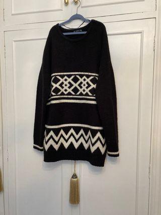 Vestido de lana de zara TS+ foulard