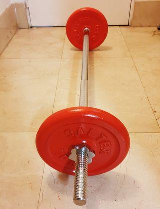 BARRA RECTA 120CM. Y DISCOS SALTER (TOTAL 26.3kg)