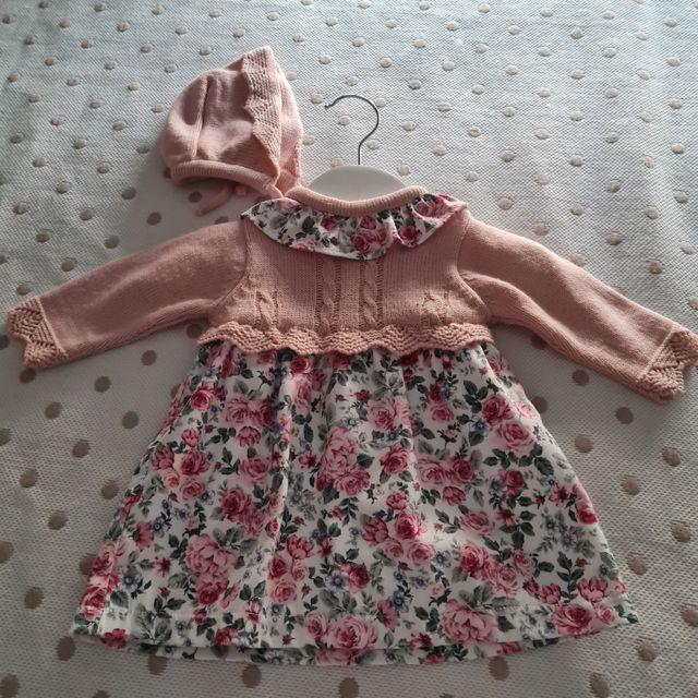 vestido bebe niña 6 meses, pecho de lana y con cap