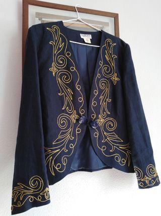 Chaqueta azul con bordados +regalo camiseta