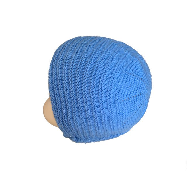 Capota de punto azul para bebé de 6 a 12 meses
