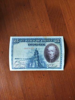 billete de 25 pesetas con el rostro de Calderón de