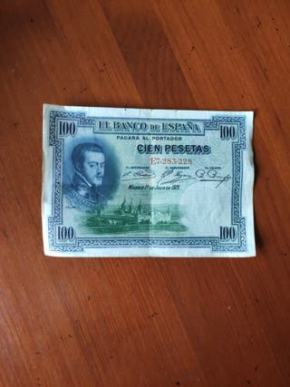 billete de 100 pesetas con el rostro de Felipe II