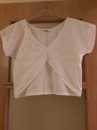 Top crop blanco algodón bordado ibicenco
