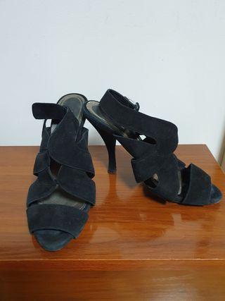 Sandalias de ante, negras
