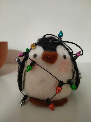 Adorno Navidad pingüino fieltro