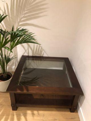 Mesa de centro salon de madera nogal.