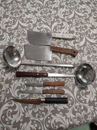 juego cuchillos y cazos