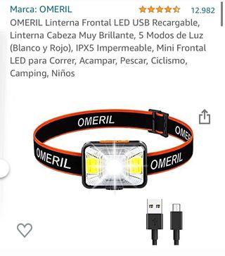 Linterna frontal LED USB