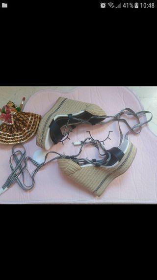 Sandalias Zara esparto cintas