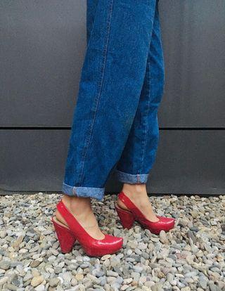 Zapatos de tacón charol fucsia