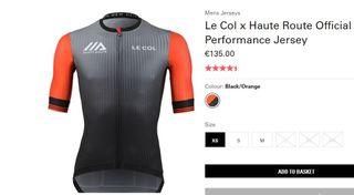 NUEVO maillot LE COL Haute route T XS