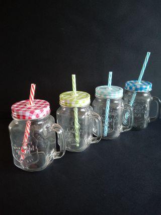 4 vasos de cristal con tapa y pajita reutilizables