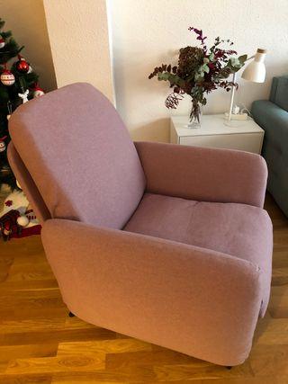 Sillón butaca rosa Ikea reclinable relax