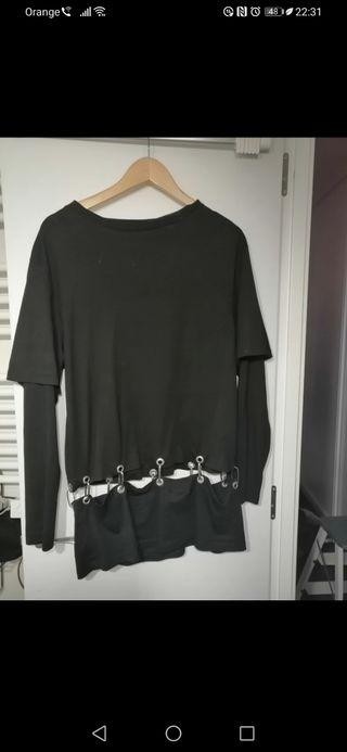 Camiseta gotica / punk 2 en 1