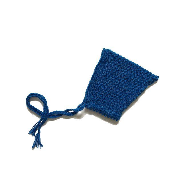 Capota gnomo pixie de punto azul, bebé 3-6 meses