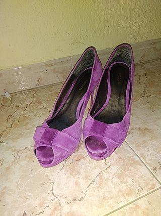Zapatos de tacón piel fucsia