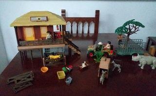 playmobil: selva refugio + jeep con remolque