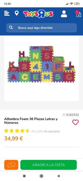 Alfombra de Foam 36 piezas letras y números