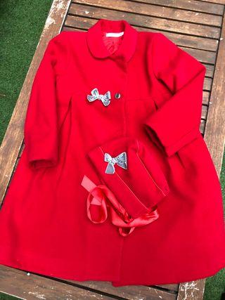 Abrigo de paño rojo burdeos talla 6 completa