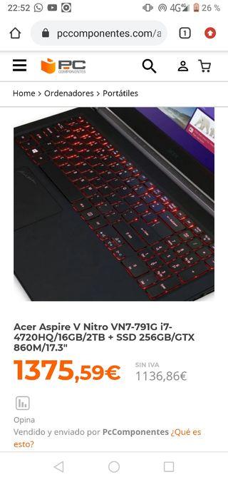 Portátil Acer 17 pulgadas i7 gtx 860m