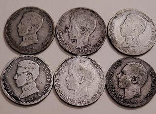 6 monedas plata Alfonso 12 y 13