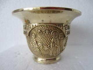 Antiguo mortero Almirez con escenas religiosas
