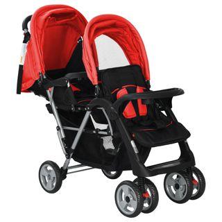 Carrito para dos bebés tandem rojo y negro de ace
