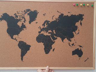 Panel corcho mapa mundi