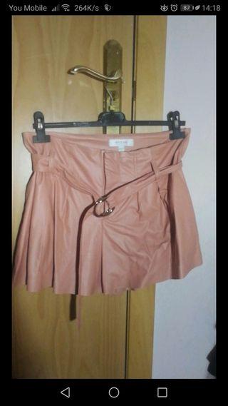 pantalón short Rosa de piel Guess