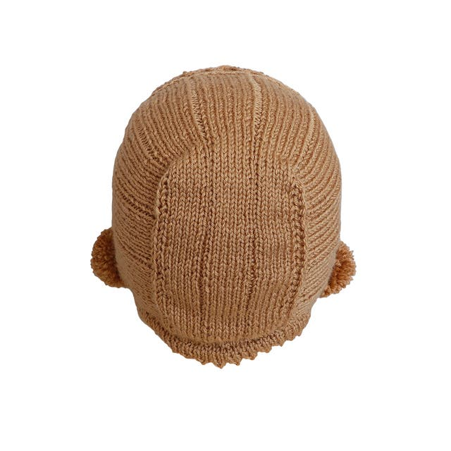 Capota de lana beige camel, bebé de 6 a 12 meses