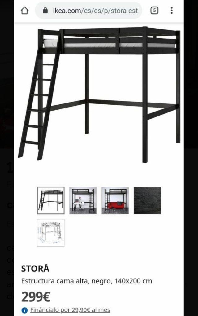 Cama Litera Matrimonio + Colchón STORA IKEA