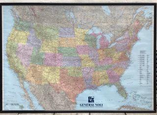 Cuadro mapa político Estados Unidos 132x95