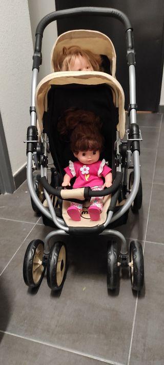 Carrito bebé gemelar de muñecas